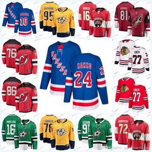 2019 Nova Jersey Rangers Hockey Jerseys 24 Kaapo Kakko 10 Artemi Panarin Devils 76 P. K. Subban 86 Jack Hughes Jersey 77 Cach Hóquei