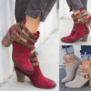 KHTAA mujeres hebilla Correa tobillo botas plataforma zapatos señoras Zip primavera gladiador moda tacones altos Mujer talla grande tacón grueso MX200324