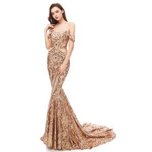 Bling Champagne Sequined Spitze Neue reales Bild Abendkleider abzunutzen Schulter-Nixe Paillette Bling formalen Partei-Kleid-Berühmtheit Abendkleider