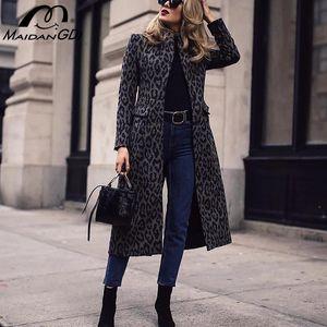 MAIDANGDI Woman Black leopard Trench New 2020 Woven Casual Slim cloak overcoats windbreaker Loose Clothing