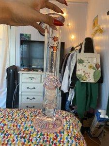 amor 2020 de chica tiktok Bong Bong l cristal lindo gatito de vidrio lenguados vidrio Rosa aparejos tuberías de agua recta Recycler tubería de agua plataforma petrolífera 14mm conjuntas