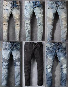 Trend marka kot kırışıklık ince nostaljik kot Mens ayak pantolon gelgit marka Tasarımcı Giyim Moda pantolon germek
