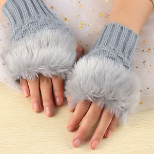 Finger autunno inverno più calde delle ragazze di modo polso Guanti Faux della pelliccia del coniglio Crochet delle donne lavorate a maglia senza dita Guanti Exposed
