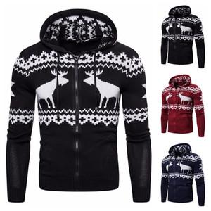 2019 new European and American men zipper hooded sweater coat deer Christmas sweater trend of men's sweaters