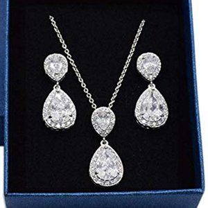 Teardrop Earrings Necklace Set Wedding Prom Bridesmaid Gift Two Piece Set