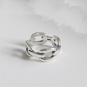 New anel de prata 925 prata Vintage Cadeia Anéis Abertas para as Mulheres 925