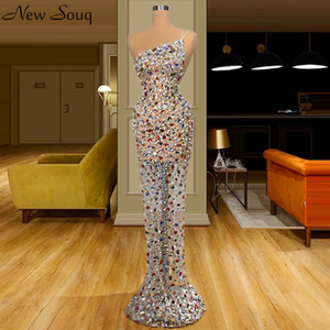 Formal Dress Sexy One Shoulder Evening Dresses 2020 Mermaid Pearls Beaded Luxury Floor Length Prom Party Dresses Robes De Soiree