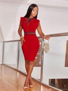 Сексуальные женщины Летняя мода красный черное платье Тощий Повседневный рукавов Party Club платье плюс размер S-3XL