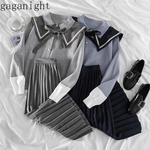Gaganight Vintage Koleji Stil 2 Adet Kadınlar Seti Sailor Yaka Uzun Kollu Bluz + Yüksek Bel Kalça PLİSE Etek Katı CONJUNTOS