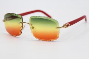 2020 نمط جديد منحوت عدسة 8200762A بدون إطار الأحمر بلانك النظارات الشمسية الضوئية بلانك الرجل أو المرأة C الديكور الذهب إطار الحجم: 62-20-135mm