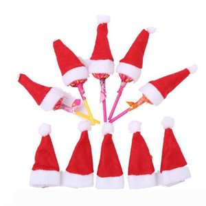 B New Wholesale 100pcs Christmas decorations, christmas Santa hat non-woven cup hat mini christmas Candy Cover Decoration