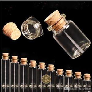5ml Mini freien Korken Stopper Glasflaschen Container Kleine Flasche Klarglas-Flasche Wishing Kleine Hochzeit Flasche billigen Glas S020C