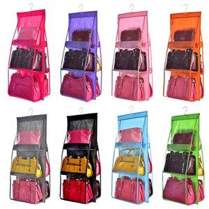6 bolso de suspensão Bag Organizador Roupeiro sacos de armazenamento transparente para Handbag Closet Shoes Organizer Porta parede Limpar diversos Pouch