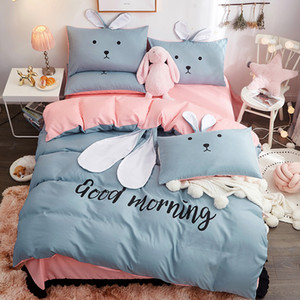 Designer new cartoon bedding set AB side With bunny ears bed set bed linens duvet cover sheet pillowcase home bedclothes 4pcs #s T200706