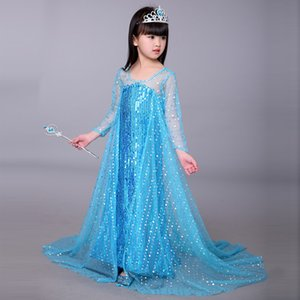 luxury design sequined lace freozen princess dresses halloween christmas cosplay high quality girls summer dresses party dress