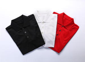 2019 été nouvelle station européenne d'affaires hommes t-shirt à manches courtes en soie mercerisée coton jeunesse polo revers polo # 01