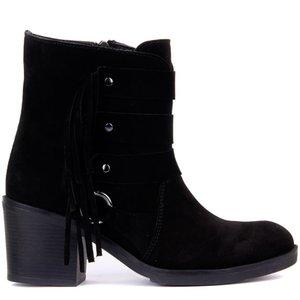 Sail-Lakers Black Suede Fringe Women Boots