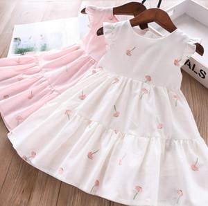 Doux filles été robe de broderie de pissenlit nouveaux enfants volants voler enfants robe en coton à manches gilet falbala robe A1753 rose blanc