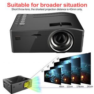 UC18 HD 1080P Mini 1200lms proyector proyector llevado micro de la tecnología de la pantalla LCD portátil de casa video proyector es compatible con VGA AV USB