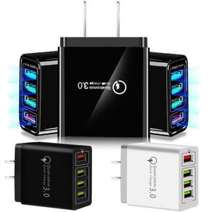 30W 4 portas USB QC3.0 Rápido carregador de parede QC 3.0 carregamento rápido carregador de parede Poder Adpater Para Samsung HTC