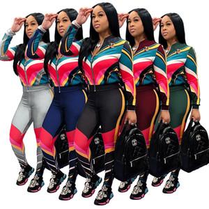 A righe stampato Womens giacca designer tuta Outfits con pannelli a maniche lunghe Moda Donna 2 piece set femminile sexy Abbigliamento sportivo
