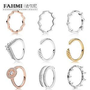 FAHMI 100% 925 Sterling Silver SHINE ABERTOS GRÃOS anel rosa TIMELESS ZIG ZAG PRETO ENCANTADA anel coroa ALLURING anel corações