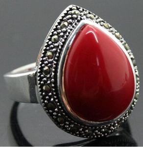 사랑 단어 여성 패션 보석 25 * 20mm RARE 보석 DROP 붉은 산호 925 실버 반지 크기 것은 종합 카탈로그를 참조