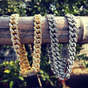 12mm ausgefrorene Gold Silber Miami Bordsteinkubanische Link Kette CZ Bling Halsketten für Herren Hip Hop Schmuck