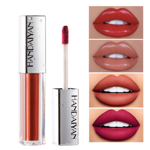 HANDAIYAN 12 Color Lip Gloss Velvet Matte Lasting Moisturizing Lipstick Lip Glaze 3D Waterproof Plumper Lip Tint Glaze Wholesale