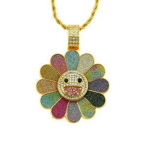 Diamond Set Sunflower Pendant Necklace Trendy Men Hip-hop Glitter Rotatable Necklace