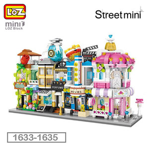 Tijolos Perfume LOZ Mini Bloco Modelo de Arquitetura Building Blocks Cidade Series Mini Rua Loja Loja de Cinema Casa Toy Crianças 1633-1636