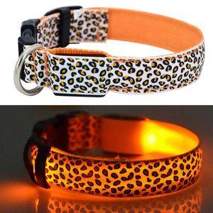 Collar de perro LED parpadeante En Oscuro 3 Modo de iluminación de seguridad ajustable collar de nylon leopardo luminoso de animal doméstico para Mascotas