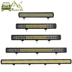XuanBa 4D Mercek 4WD Kamyon ATV SUV Traktör Oto Araç Aydınlatma Taşkın Nokta Işın Offroad Sürüş Işık 20 '' 28 '' 26 '' 44 İnç LED Light Bar