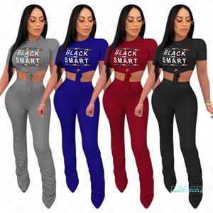 Intelligente Tuta Neri Abbigliamento femminile fasciatura sexy Bare-diaframma Tops T pantaloni tromba shirt + abiti estivi Streetwear 2 collega gli insiemi di D42307