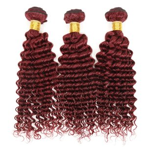 100% Virgin Indian Remy Extensiones de cabello 3 paquetes 99j Indian Curly Hair Burgundy Color Weaves Indian Deep Curly Wave Cabello humano barato