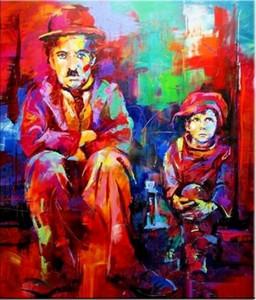 CHARLIE CHAPLIN Pittura Ritratto olio su tela Pop Art Decor parete Artigianato / HD Stampa Wall Art Picture 191.022