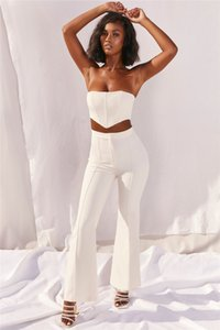 Womens Two Piece Pants with Natural Color Sexy Strapless Crop Top Long Flared Pants Women S Clothing 2 Piece Set
