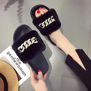 Berühmte Marken-Frau Pelz Slippers Ketten Design-Folien Kristallketten-Sandalen-Pelz-Flip Flops Frauen-beiläufige Strand-Schuhe Fur Slippers