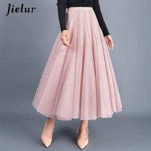 Jielur Skirt Summer 3 Layers Princess Tulle Skirts Womens Mesh Pleated A-line Saia Female Jupe Tutu Skirts Faldas Mujer Moda CX200530