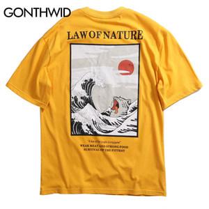 Gonthwid Japon Ukiyo Kedi Dalga Baskılı Streetwear T Shirt Yaz Erkek Hip Hop Rahat Kısa Kollu Üstleri Tee Erkek Tişörtleri S19713