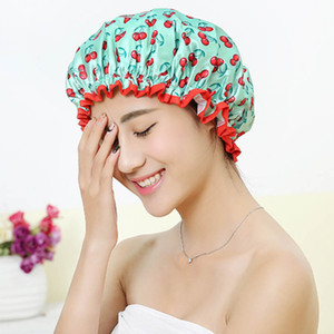 Cheap Caps Thick 1Pcs Waterproof Bath Hat Double Layer Shower Hair Cover Women Supplies Shower Caps Bathroom Accessories