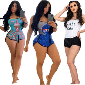 Women tracksuit gallus shorts outfits 2 piece set sportswear casual sport suit new hot selling fashion print summer women clothes klw4353