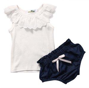 신생아 유아 키즈 Baby Girls Summer Clothes Ruffles 민소매 코튼 조끼 탑스 + 데님 반바지 바지 2PCS 신사복 Sunsuit 세트 NEW