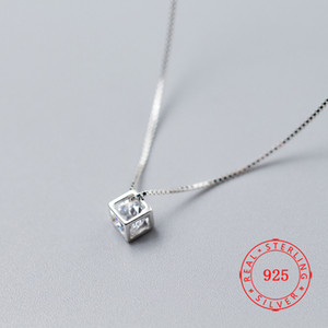 S925 Sterling Silber Tiny CZ Cube Anhänger Halskette Beste Freund Halskette Geschenk China Jwellery Online-Shopping-Site