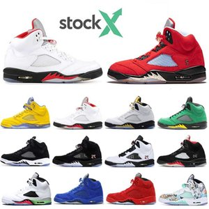 STOCK X 5 Men Basketball Shoes Black Metallic White Cement 5s Suede Fire Red Space Jam Island Green Gold Sports Sneaker size 7-13