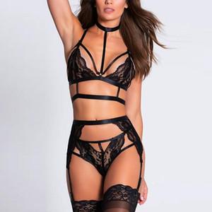 레이스 3PCS 여성 Sexy- 잠옷 베이비 돌 브라 세트 높은 허리 G-문자열 가터 속옷 브라 간략한 세트 섹시한 란제리 #W를 패딩되지