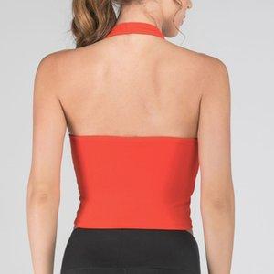 Women Hanging Neck Solid Color Vest Backless Breathable for Yoga Fitness Sport H7JP