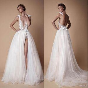 Чешские кружева Берта свадебные платья 3D аппликация трапеция глубокий V-образным вырезом пляж свадебные платья развертки поезд тюль Сплит сторона свадебное платье