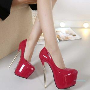 Pop2019 16cm Princess Super Fine With High Waterproof Platform Sexy Nightclub Concise Joker Patent Leather Single Shoe Baotou