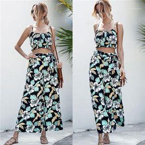 Дизайнер рукавов ремень Топы Widw Leg Pants Женщины Мода Повседневная наборы Цветочные печати 2PCS женские Костюмы летние